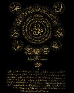 Naqshbandi gold taweez - 4 Khalifa andahlulBayt