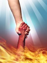 hand pulling hand out of fire, madad, support