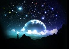 stars in dark night & moon