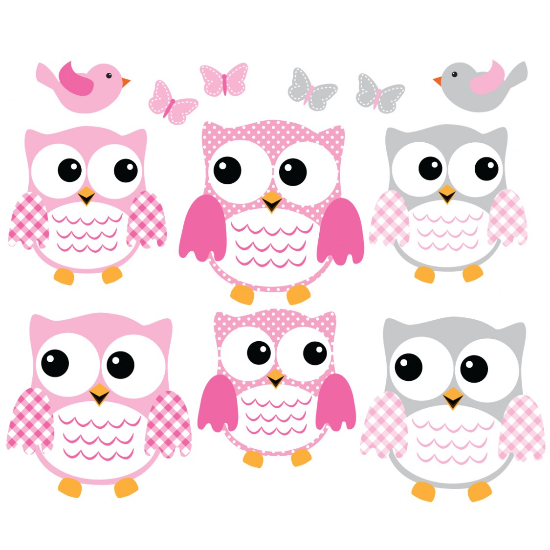 Pink And Gray Owl Wall Decals With Love Bird Wall Decals