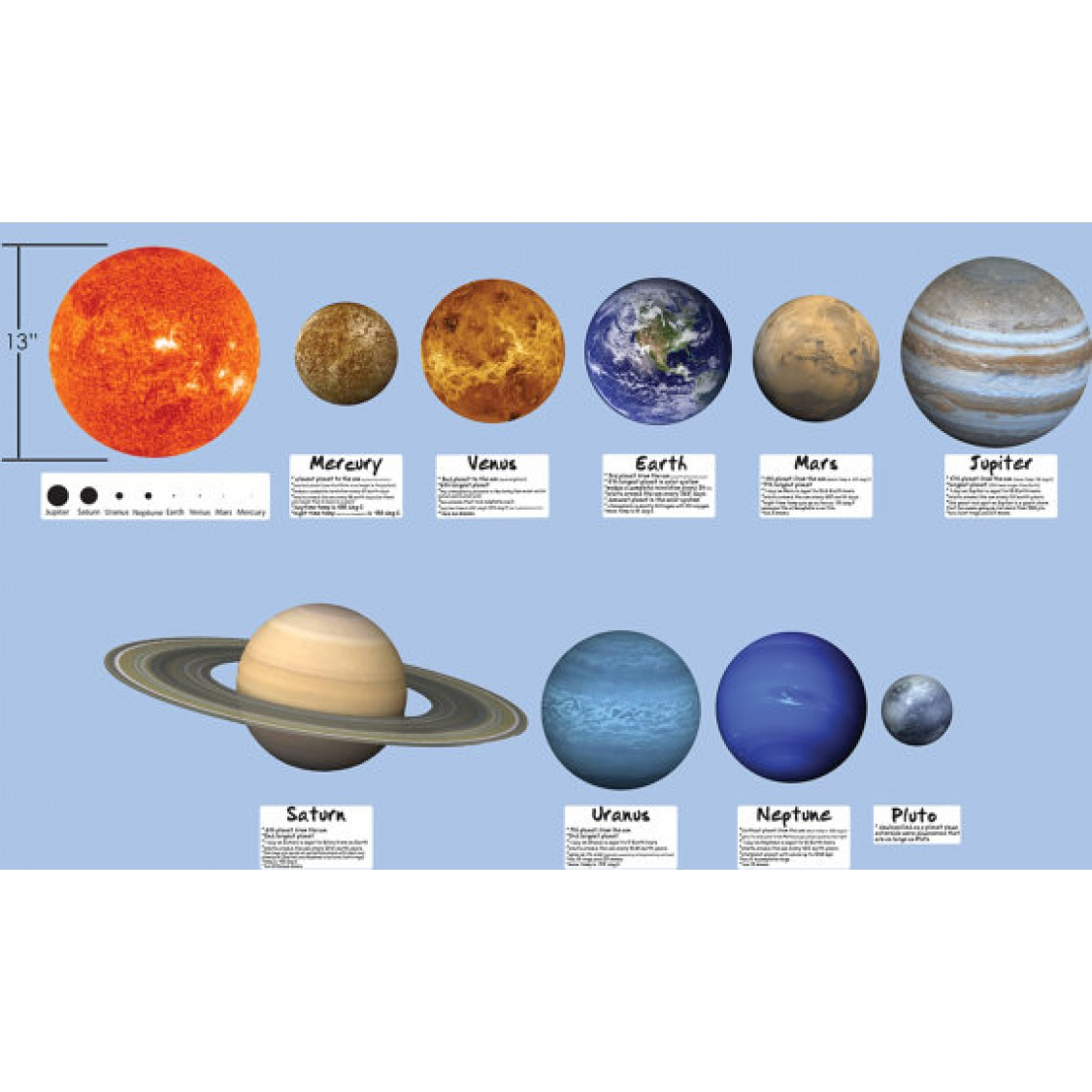 Large Solar System And Moon Wall Mural For Boys