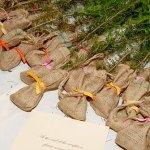 wedding seedlings in burlap bags