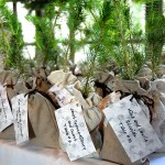 Wedding seedling favors in burlap bags