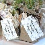 Wedding seedling favors in burlap bags