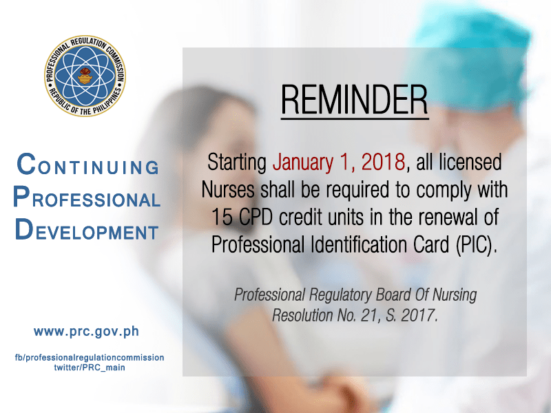 PRC: Nurses must comply with CPD requirement for renewal starting January 2018