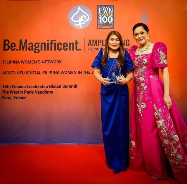 Filipino Women's Network awards Dr. Nerissa Gerial as one of Most Influential Filipina Women in the World in a ceremony in Paris, France.
