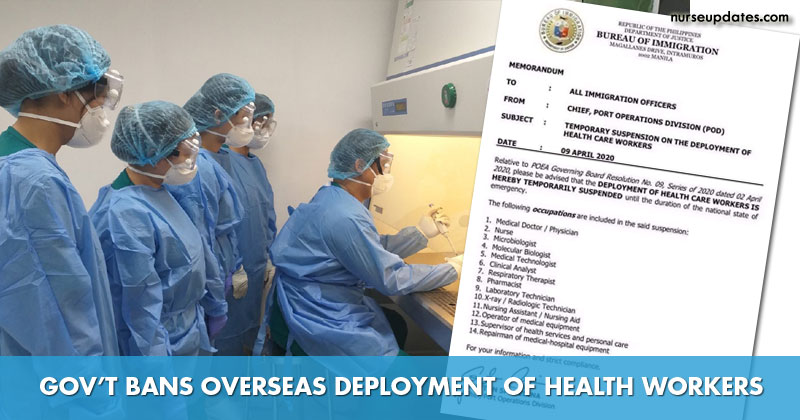 POEA bans overseas deployment of Filipino health workers