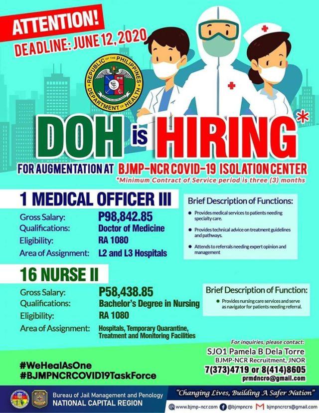 DOH hiring nurses for BJMP.