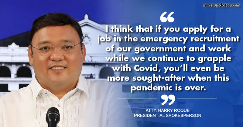 Roque: Experience in handling Covid-19 patients will give nurses advantage in landing jobs abroad