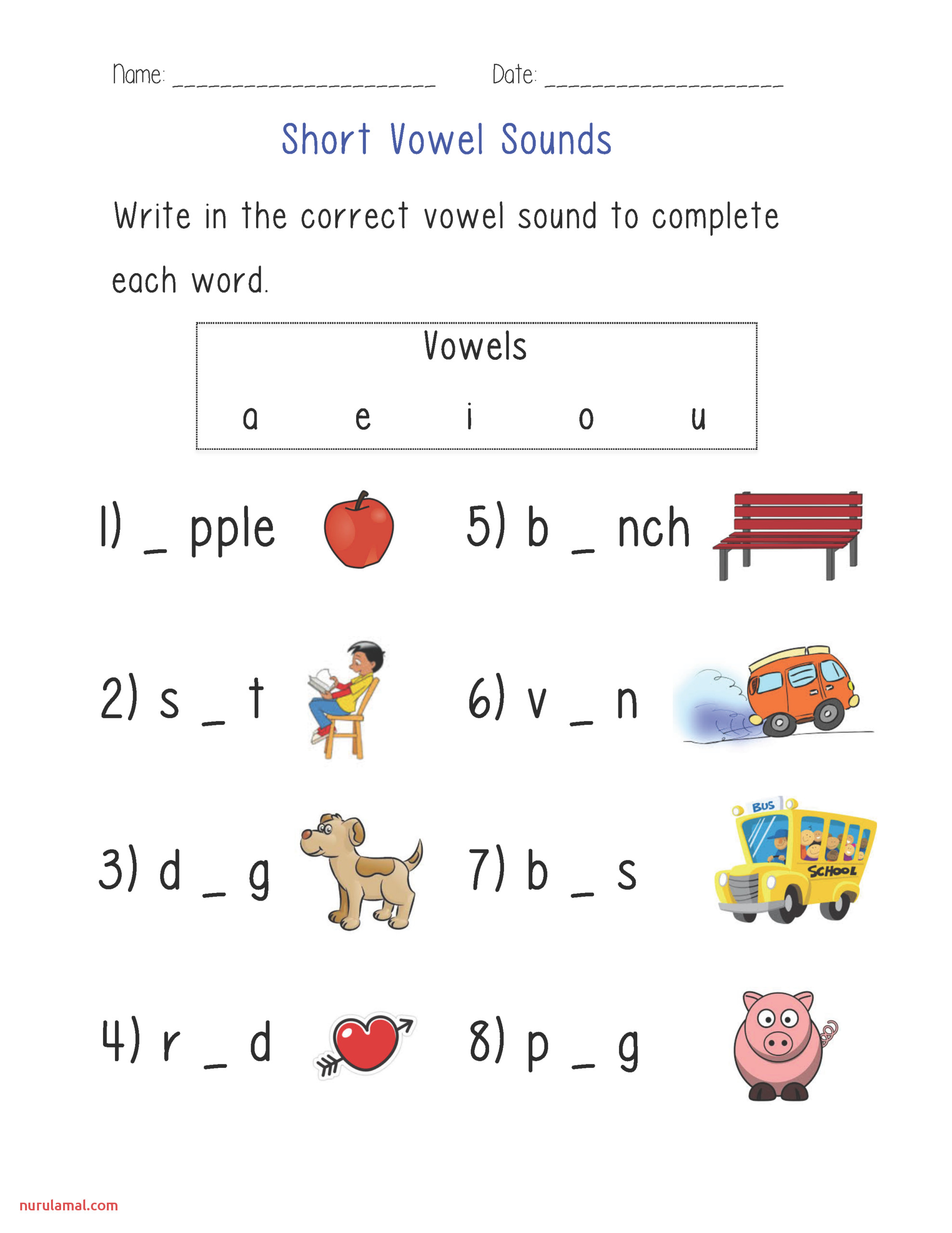 Printable Short Vowel Sounds Worksheets
