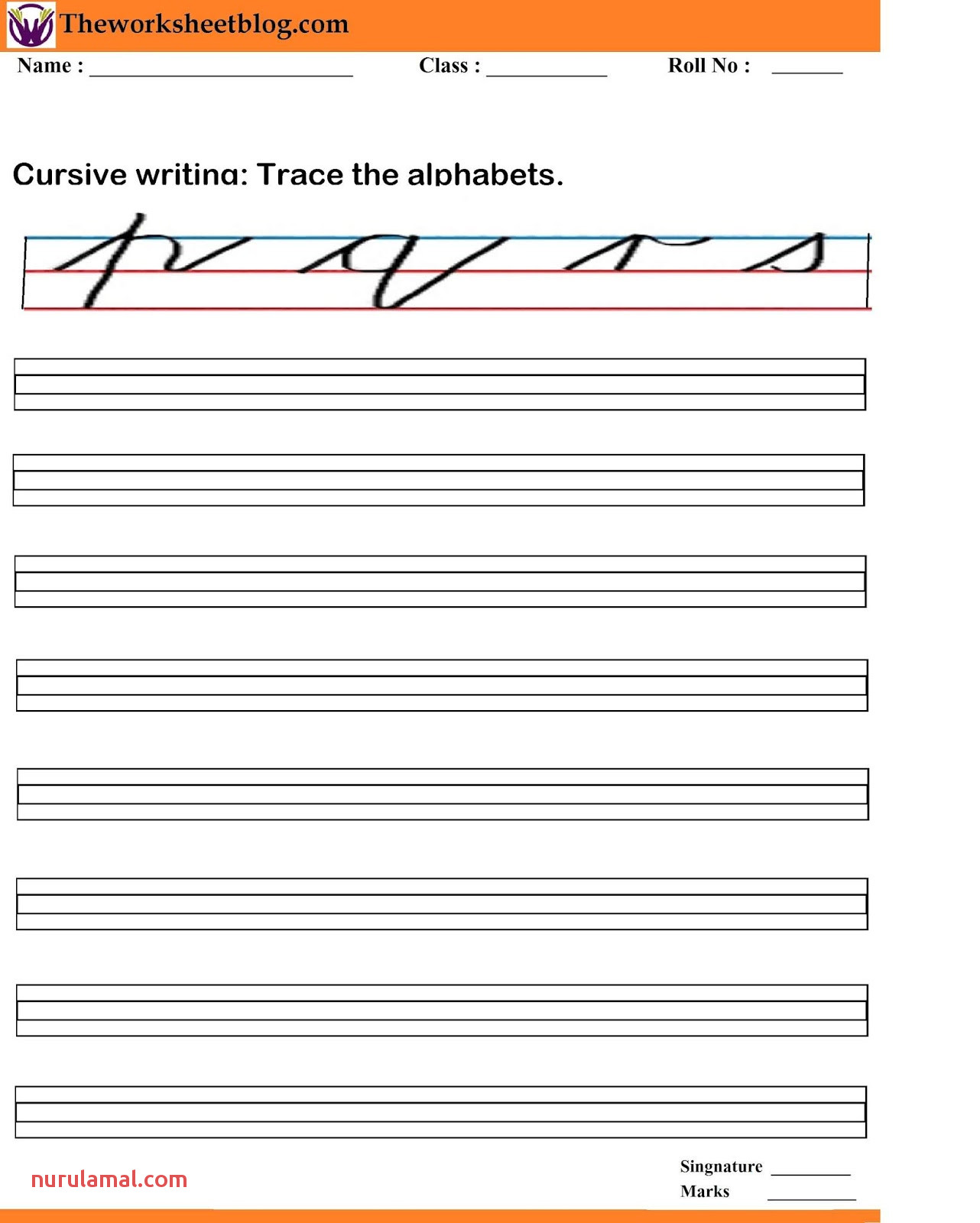 Alphabet Worksheets Cursive
