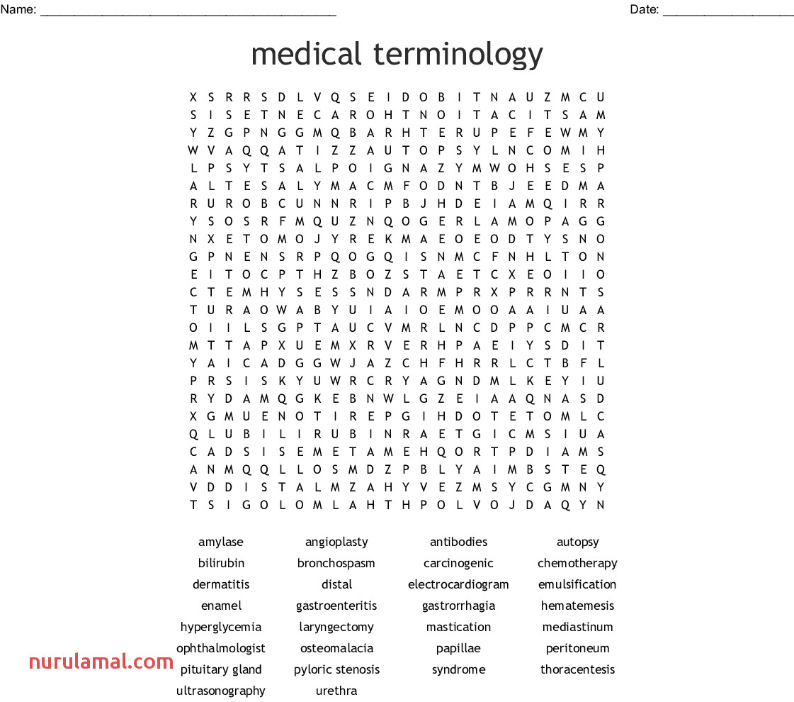 Medical Terminology Worksheets Printable Nurul Amal
