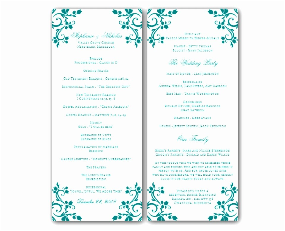 Free Printable Wedding Program Templates Nurul Amal