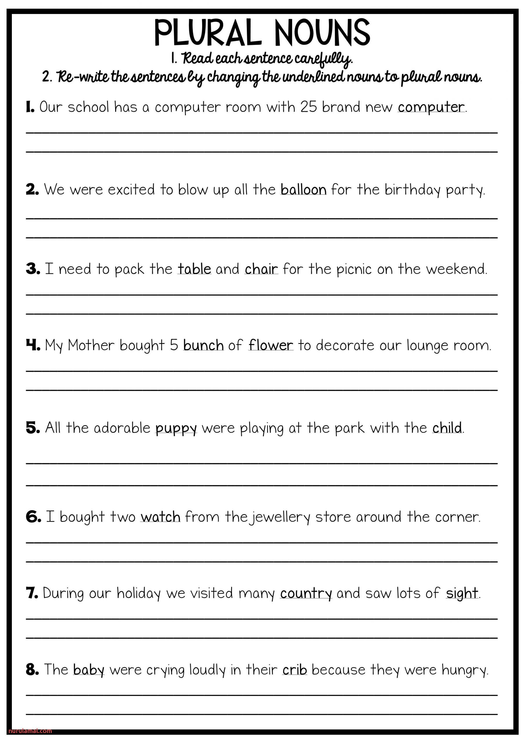 First Grade Grammar Worksheets Printable