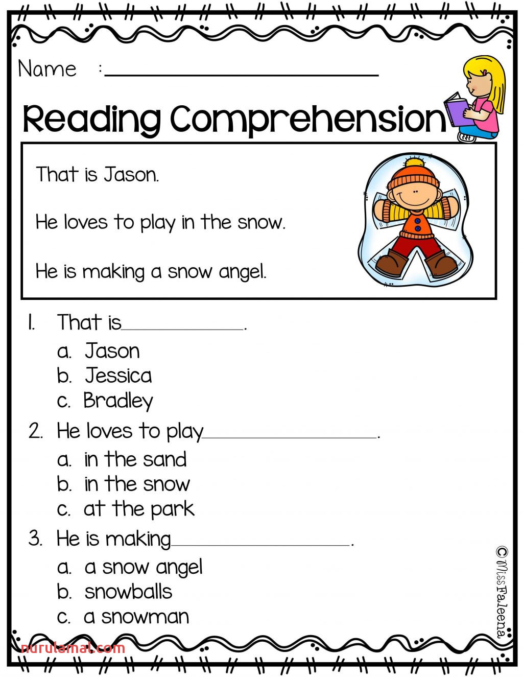 Math Activities Snowman Worksheet