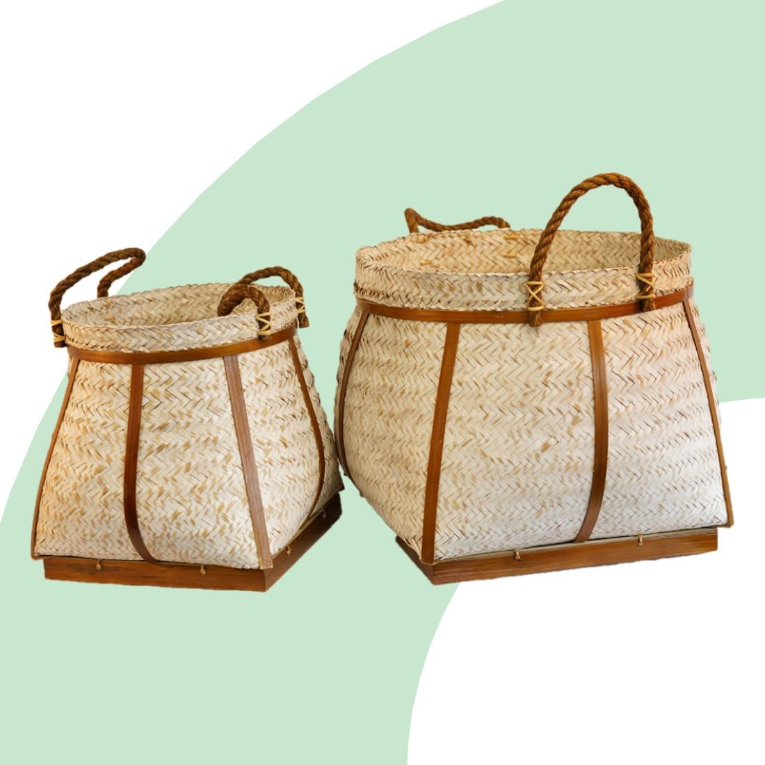 Mandenset Bali Bamboe Wit (set van 2)