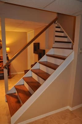 How To Remodel Basement Stairs Finishing Basement Stairs | Cost To Replace Basement Stairs | Stair Case | Stair Tread | Carpet | Hardwood | Unfinished Basement