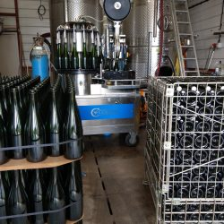 Empty bottles, bottling line and then full crate