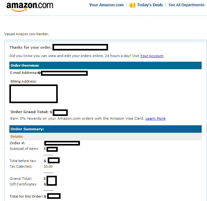 amazon receipt template