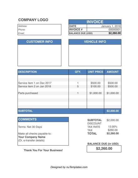 auto repair invoice template img