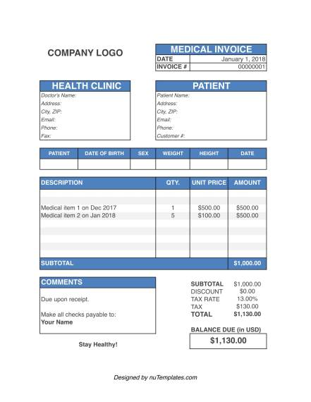 medical invoice template img