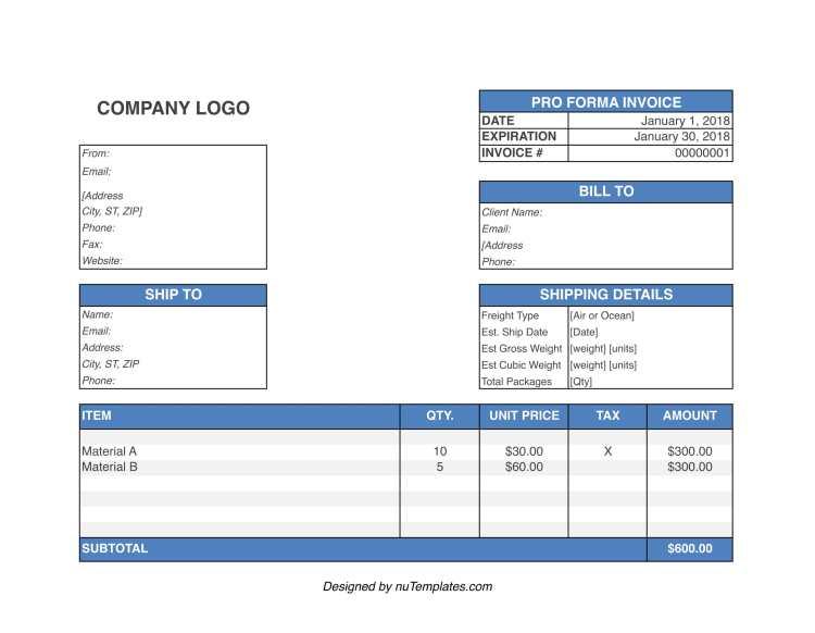 proforma invoice template img