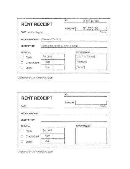 Rent Receipt Template - Rent Receipts | nuTemplates
