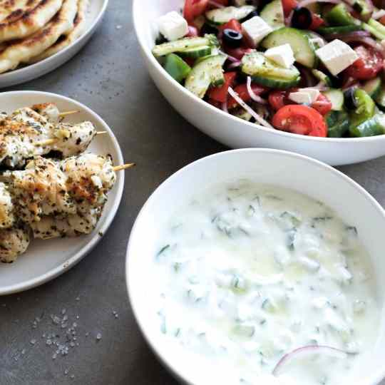 Tzatziki with souvlaki