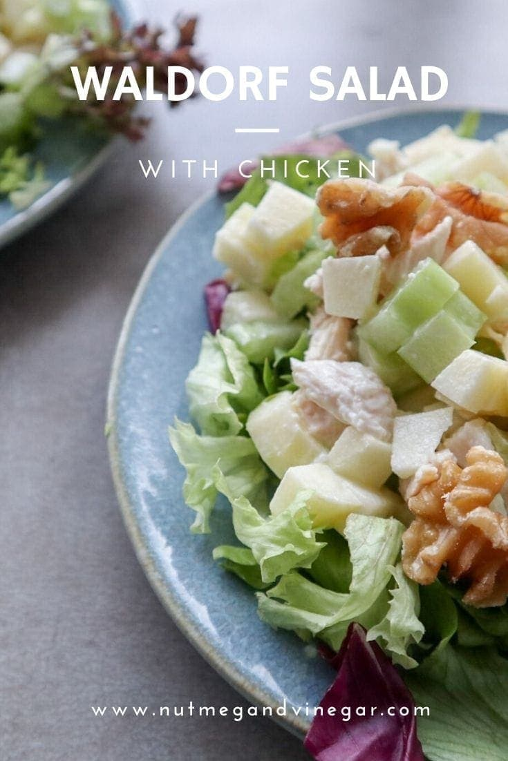 Classic American Waldorf salad with chicken