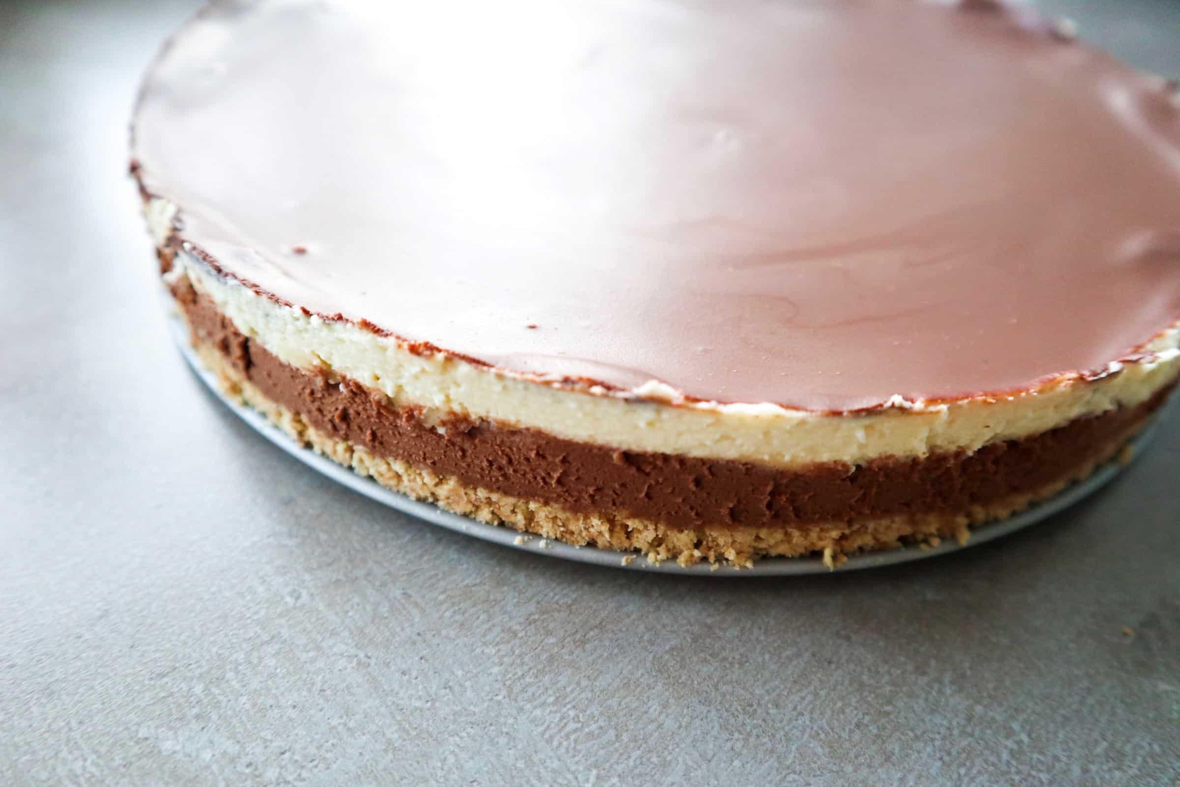 no-bake chocolade cheesecake lagen