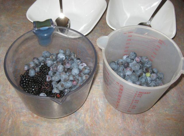 freshly picked blueberries and blackberries