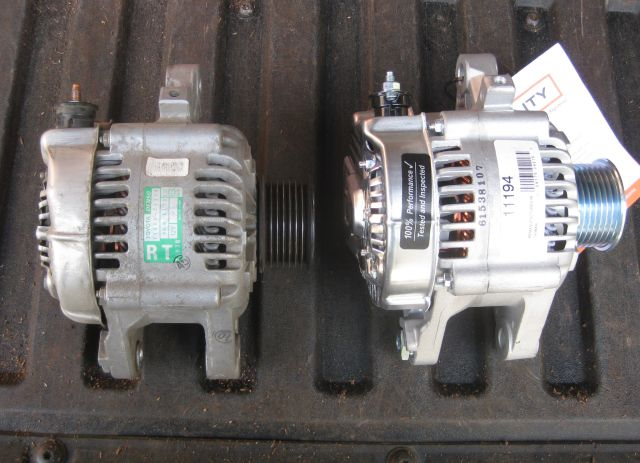 new and old alternators, side by side