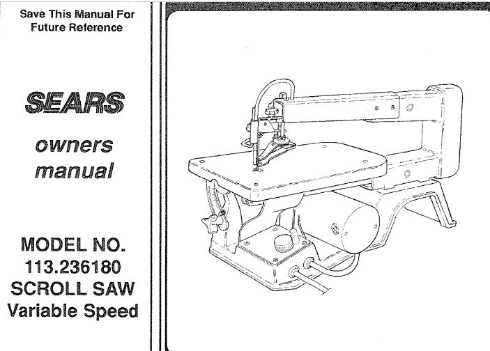 sketch of the scrollsaw from the manual