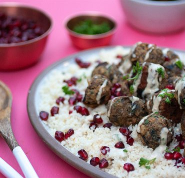 Eggplant Meatballs with Couscous and Tahini Sauce