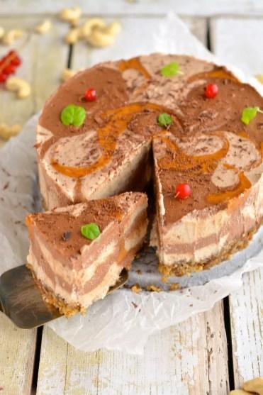 Raw Vegan Cheesecake Recipe with Cashews and Peanut Butter Swirls