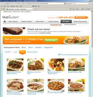 Nutrisystem plans and prices