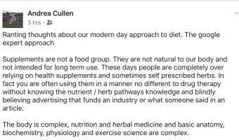Supplements are not a food group