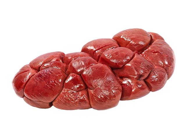 A Raw Beef Kidney On a White Background.