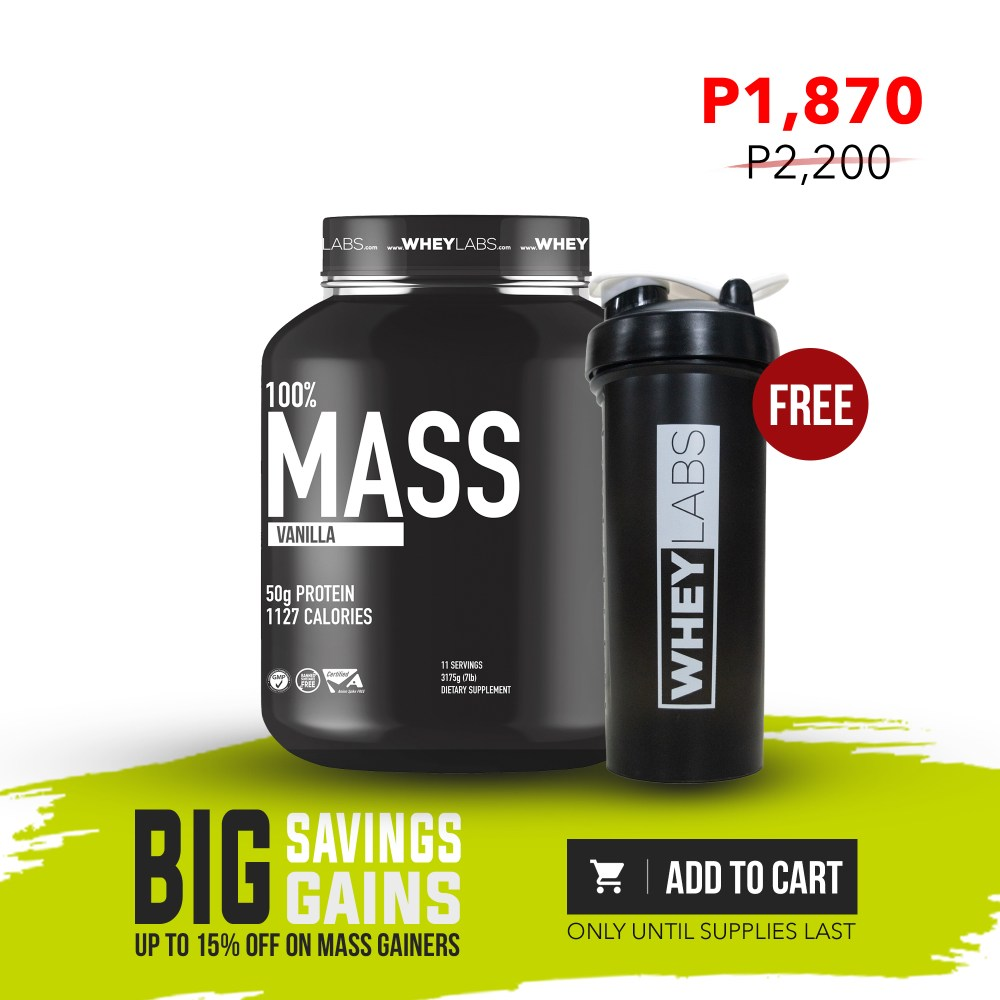 [MG PROMO] WheyLabs – Mass Gainer VANILLA 7Lbs + FREE 1L WheyLabs Shaker 02 - Nutrition Depot Philippines