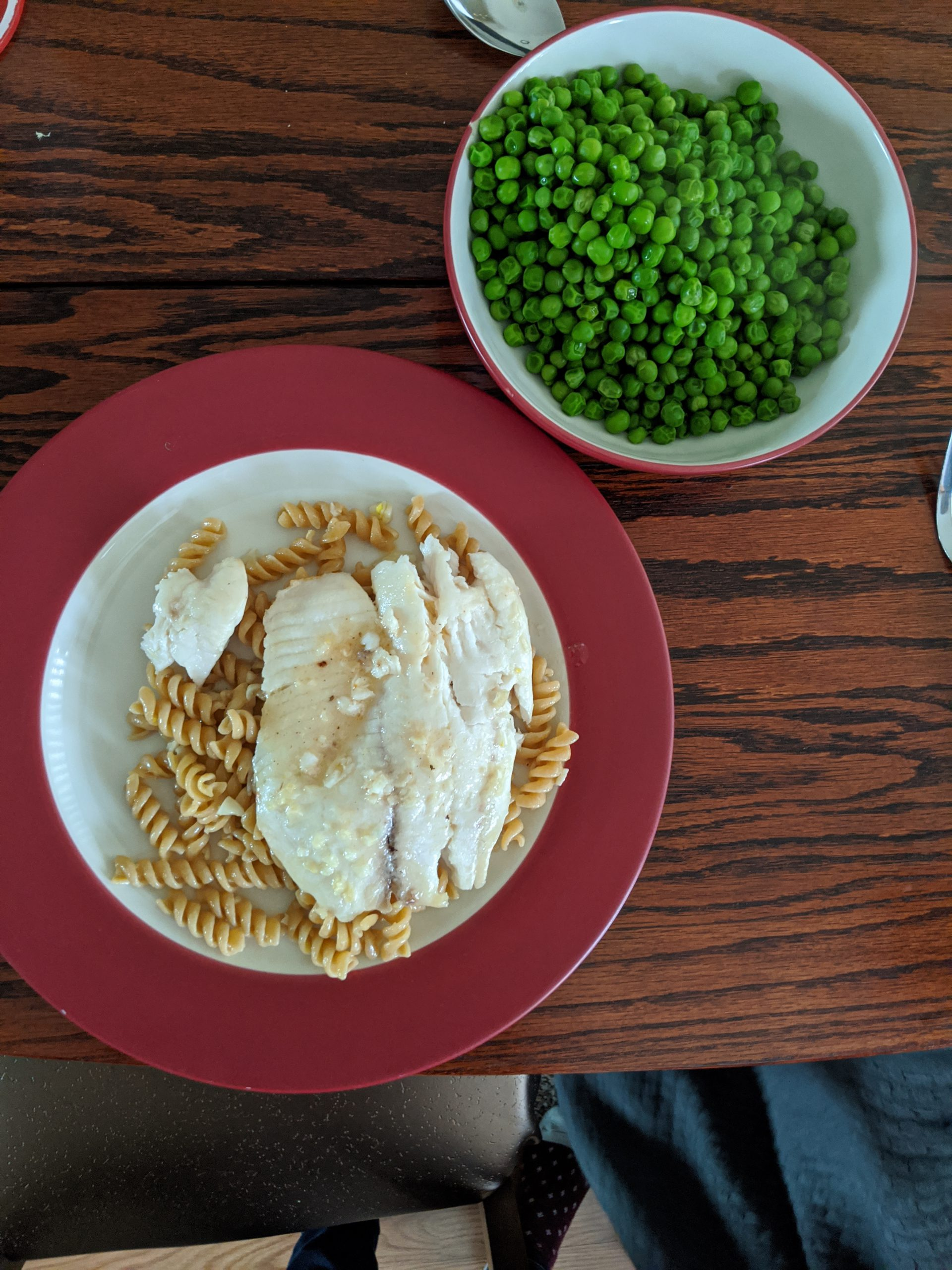 white fish and pasta and peas
