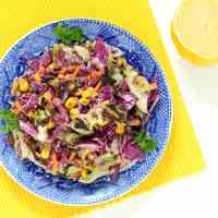 Roasted Slaw with Roasted Garlic Lemon Dressing (Gluten-free, Vegan / Plant-based)