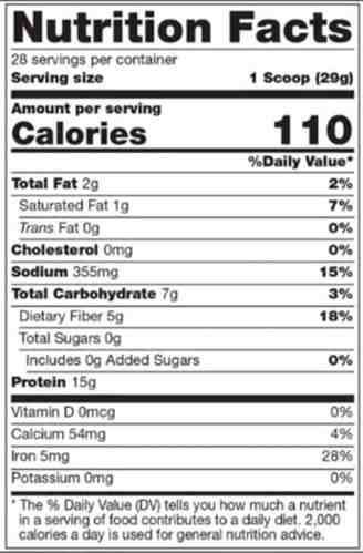 310 Nutrition label