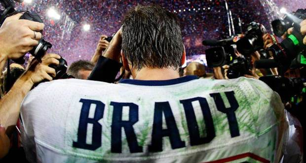 Tom Brady jersey up close, from behind after victory.
