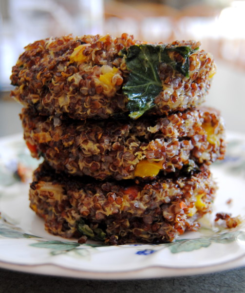 Pepper, Kale and Quinoa Burger Tower