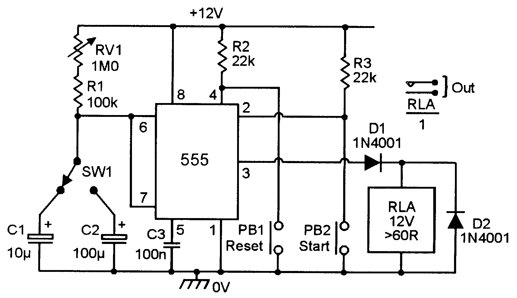 Lm555 Timer Circuit Diagram