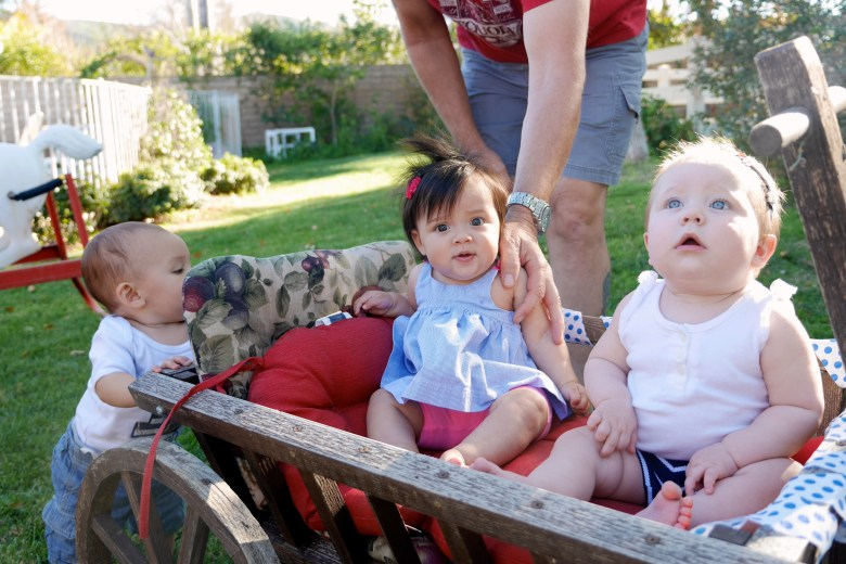 Babies in a wagon!