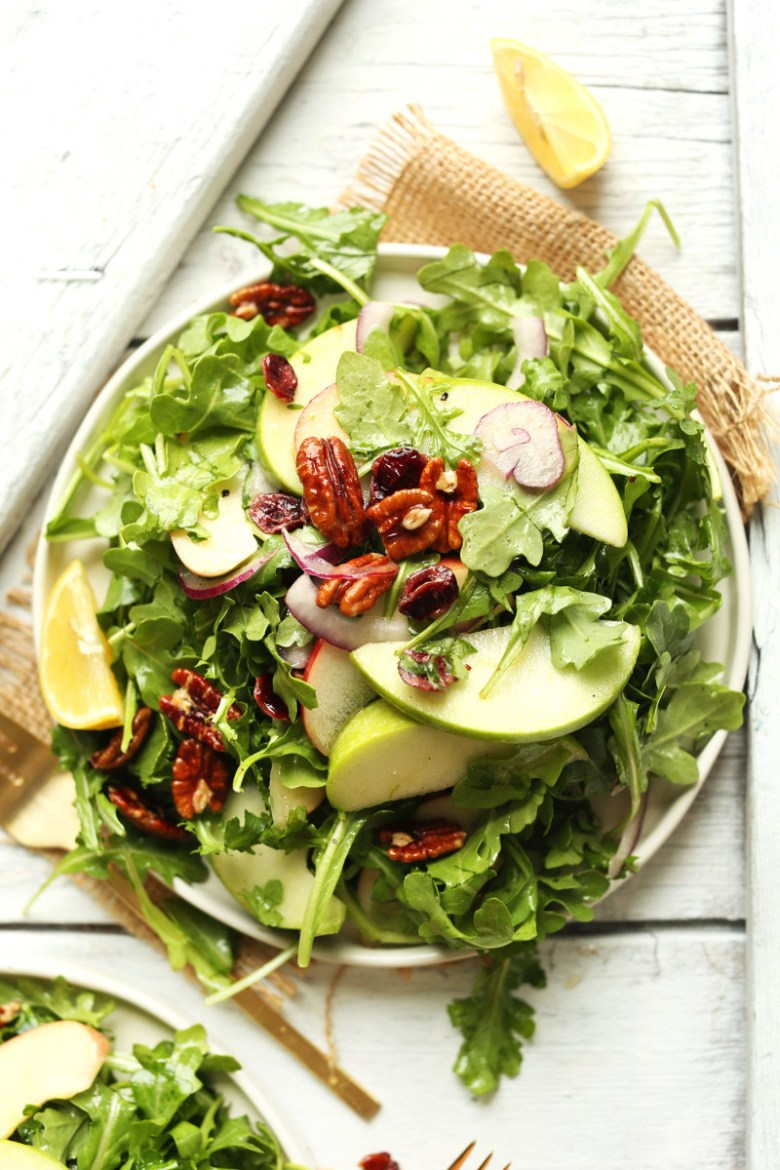 20-minute-Easy-Apple-Arugula-Salad-with-Pecans-and-Lemon-Vinaigrette.-A-healthy-hearty-side-dish-for-fall-and-winter.-salad-recipe-vegan-healthy-dinner-meal-minimalistbaker