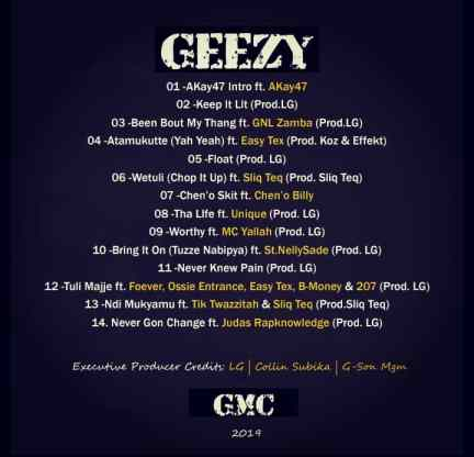 GEEZY official tracklist