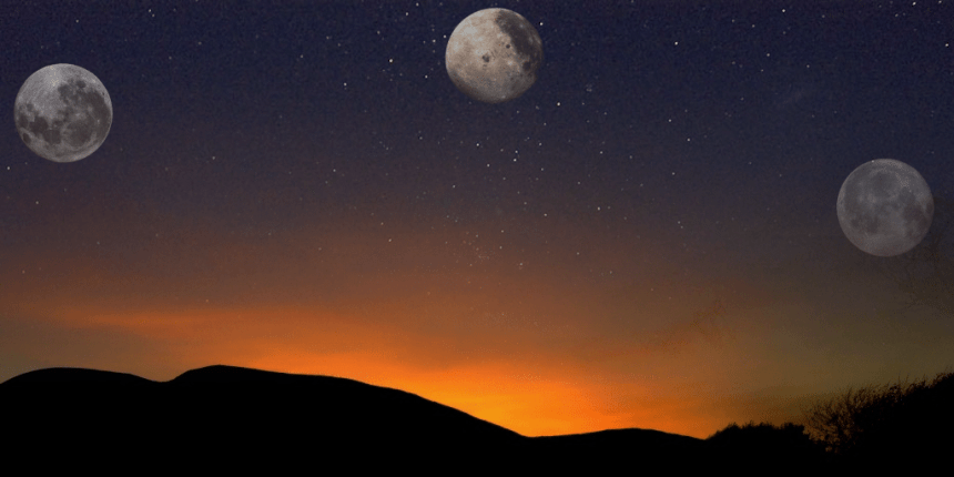 sunset with moons