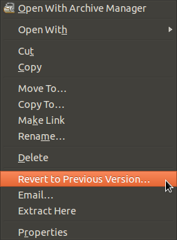 Deja Dup in right-click menu
